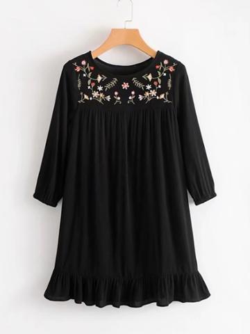 Romwe Flower Embroidery Ruffle Hem Dress