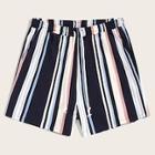 Romwe Guys Drawstring Waist Colorful Striped Shorts