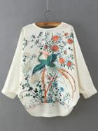 Romwe White V Neck Batwing Sleeve Embroidered Blouse