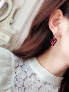 Romwe Double Rhinestone Heart Drop Earrings