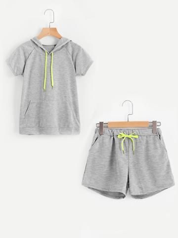 Romwe Raglan Sleeve Kangaroo Pocket Hoodie With Track Shorts