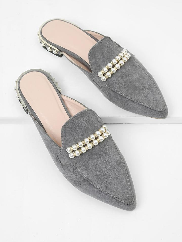 Romwe Faux Pearl Pointed Toe Flats