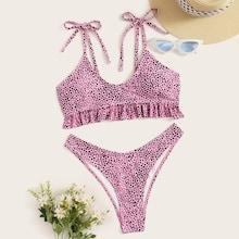 Romwe Dot Print Ruffle Top With High Cut Bikini Set