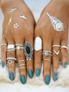 Romwe Mixed Shaped Ring Set