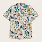 Romwe Guys Revere Collar Allover Cartoon Print Shirt