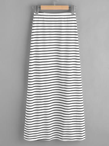 Romwe Elastic Waist Striped Jersey Skirt