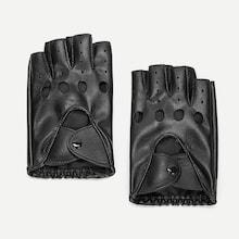 Romwe Guys Hollow Out Half Finger Gloves
