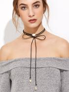 Romwe Black Gemstone Long Wrap Choker Necklace