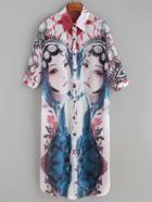 Romwe Multicolor Opera Characters Print Half Sleeve Tshirt Dress