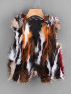 Romwe Sleeveless Open Front Fake Fur Coat