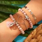 Romwe Disc & Bead Decor Bracelet 4pcs