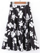 Romwe Floral Print A Line Skirt