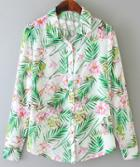 Romwe Leaves Print Chiffon Blouse