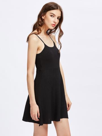 Romwe Strap Open Back Knit Cami Dress