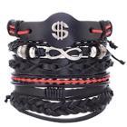 Romwe Woven Layered Bracelet Set 5pcs