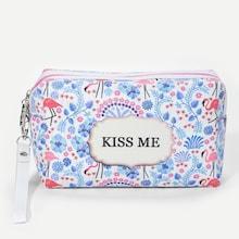 Romwe Flamingo & Flower Pattern Makeup Bag