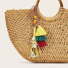 Romwe Shell Decor Layered Tassel Bag Accessory