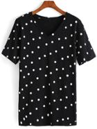 Romwe Polka Dot Loose Black T-shirt