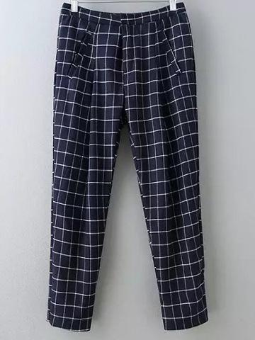 Romwe Dark Blue Pockets Plaids Harem Pants