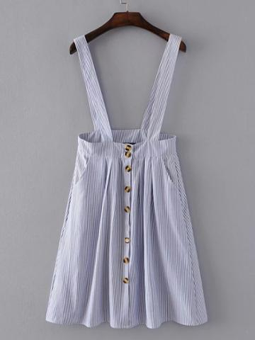 Romwe Pinstripe Overall Dress With Buttons