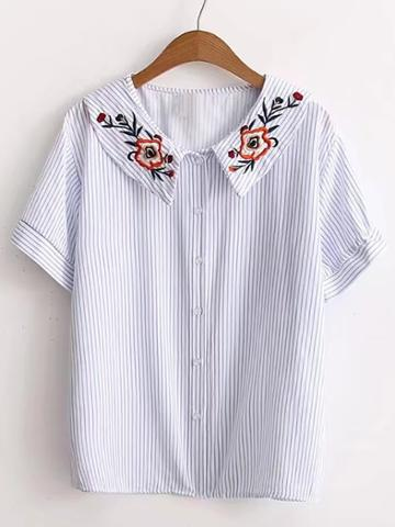 Romwe Vertical Striped Flower Embroidery Blouse