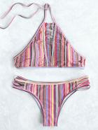 Romwe Multicolor Vertical Striped Ladder Cutout Bikini Set