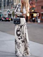 Romwe Abstract Print Chiffon Maxi Dress