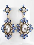 Romwe Blue Drop Gemstone Gold Flower Earrings