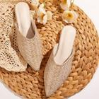 Romwe Point Toe Woven Detail Flat Mules