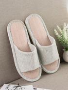 Romwe Striped Linen Slippers