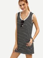 Romwe Contrast Trim Black White Striped Tank Dress
