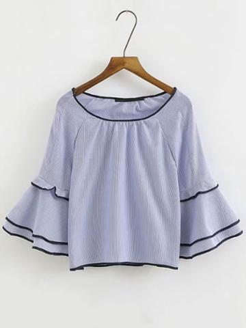 Romwe Contrast Binding Layered Bell Sleeve Top