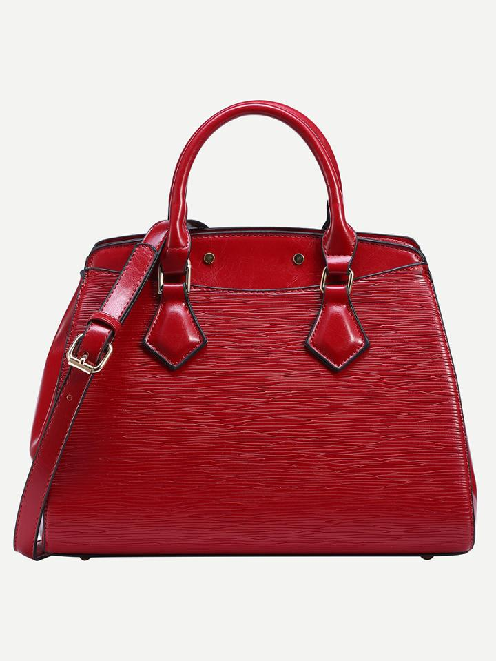Romwe Red Embossed Faux Leather Satchel Bag