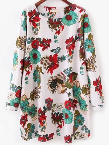 Romwe Florals Tunic Dress