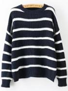 Romwe Long Sleeve Striped Navy Sweater