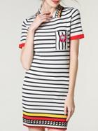 Romwe White Black Striped Lapel Sheath Dress