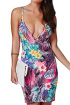 Romwe Strapped V-neck Floral Print Slim Dress