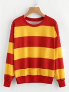 Romwe Wide Striped Drop Shoulder Sweatshirt