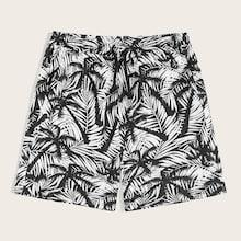Romwe Guys Drawstring Waist Jungle Leaf Shorts