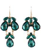 Romwe Green Gemstone Drop Dangle Earrings