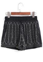 Romwe Elastic Waist Sequined Bead Black Shorts