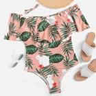 Romwe Plus Flounce Tropical Swimsuit