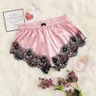 Romwe Floral Lace Satin Sleep Shorts