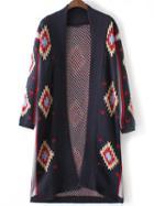 Romwe Black Geometric Pattern Collarless Long Cardigan