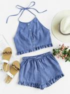 Romwe Buttoned Front Princess Seam Halter Top And Shorts Set