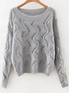 Romwe Grey Round Neck Hollow Out Sweater
