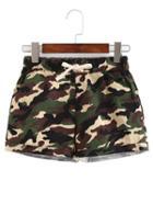 Romwe Drawstring Waist Camouflage Shorts