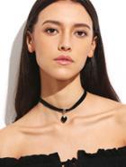 Romwe Black Velvet Heart Pendant Choker Necklace