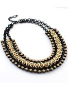 Romwe Gold Bead Black Chain Necklace