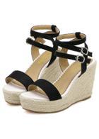 Romwe Black Buckle Wedge Sandals